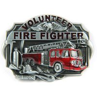 Wholesale Volunteer Fire Fighter Fireman Truck Engine Extinguisher Belt Buckle