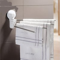 Wholesale Stainless Steel Arms Super Suction Cup Adjustable Rotated Towel Bar Wall Mounted Bath Bathroom Accessories