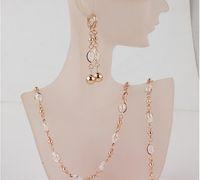 Wholesale Fashion Women s k Gold Filled Clear Austrian Crystal Necklace Bracelet Earrings Wedding Bride Jewelry Sets Gift