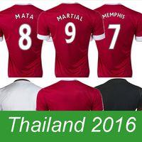 Al por mayor-UTD ROJO BLANCO NEGRO superior de Tailandia camiseta camiseta de fútbol maillot de pie camisetas de fútbol 2016 modelo Camisetas de futbol 15 16