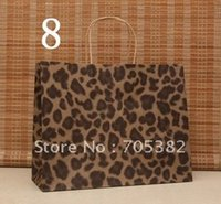 Cheap Big Size Leopard Shopping paper bag, 33X26X12CM,Janpan technical,Kraft paper bags with handle, gift bag,Wholesale price(SS-197)
