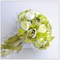 beautiful camellias - 2016 Wedding Bridal Bouquets Flowers Beautiful Bridal Accessory White And Green Camellia Romantic Bridal Handing Flowers DZ