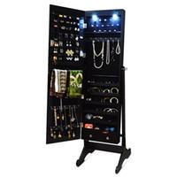 antique wood furniture - Wood Free Standing Jewelry Cabinet Storage Organizer with LED Light Jewlery Display USA Stock