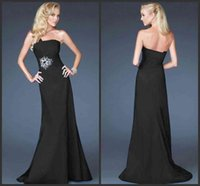 prom dresses 2012 - 2012 Size Avaliable Black Prom Events Strapless Neckline Sleeveless Mermaid Evening Dress Sweep Train Beaded Zipper Satin Prom Party Gowns W