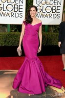 Wholesale Cheap Golden Satin - The 73rd Golden Globe Awards 2016 Formal Celebrity Red Carpet Dresses Michaela Watkins Cheap Long Mermaid Off Shoulder Evening Prom Gowns