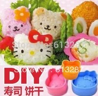 Wholesale Kawaii Hello Kitty Little Bear Rabbit pieces set Sushi Rice Mold Mould Seaweed Cutter Bento Novelty Item KCS