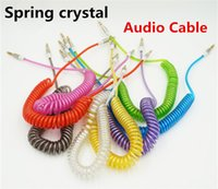 Wholesale Spring Crystal mm Audio Cable Male To Male Stereo Car Extension Audio Cables For MP3 Headset Computer Tablet Iphone Ipod Samsung Phone