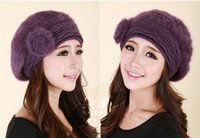 Wholesale QA02 Women Hat colour lovely lady of autumn and winter fashion Millinery Winter Hat Beret rabbit fur hats