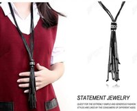 Wholesale 2016 Brand Exaggerated Casual Style Rope Strings Tassel Statement Jewelry Sweater Chain Necklace Multi Braided Long Necklace Ladies N067