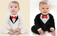babi boy - New pure cotton Baby Clothing Bow tie design Baby Romper Infantil babi boy jumpsuit Newborn Babies Rompers Free ship