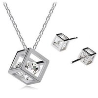 acrylic cube box - Zircon Cube Water Cube temperament flash diamond earrings zircon necklace box set stereo love
