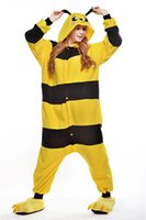bee outfit - Cute Bee Kigurumi Pajamas Animal Suits Cosplay Outfit Halloween Costume Adult Garment Cartoon Jumpsuits Unisex Cheap Animal Sleepwear