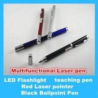 Wholesale 4 in Red Laser pointer LED Flashlight adjustable teaching pen Black Ballpoint Pen with Retail packaging