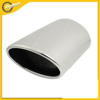 Wholesale For Toyota Prado Exhaust Muffler Tip Oval Rolled Slanted Stainless Steel mm quot Exhaust Pipe Muffler Tip Car Styling Silver