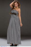 houndstooth dress - Black Houndstooth Bandeau Maxi Dress LC60235