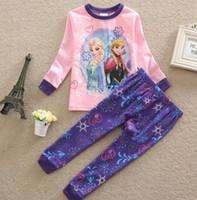 cotton night shirt - Frozen Elsa Anna Girl s Sleeping Wear Night Clothes Pajamas Long Sleeve Cotton T Shirts Flower Printed Trousers Home Wear J3625