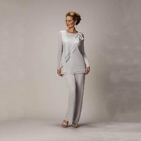 beaded ladies pants - 2015 Silver Mother s Pants Suit For Mother of The Bride Groom Ladies Womens Cheap Custom Made Beaded Chiffon Wedding Party Evening Gowns Hot