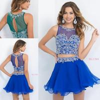 Dos pedazos 2015 Nuevos vestidos de graduación A-Line Cuentas Bling Bule verano vestido azul atractivo Sheer Short Prom Homecoming Dress