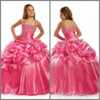 Girl beads and rhinestones - 2016 Cheap Girls Pageant Dresses Spaghetti Strap Beading Crystal Floor Length pageant Ball Gown For Flower Party And Weddings DL00166
