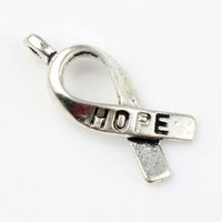 achat en gros de ruban breloque-200pcs / lot 7.7x18.6mm Tibétain Argent Hope Hope Ruban En Métal Alliage Charms Pendentifs Fashion Fit Bracelets Collier Boucles D'oreilles L088