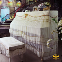 Wholesale Continental warriors Mercure Piano cover piano cover off white lace wedding dress Korean containing stool cover full cover over