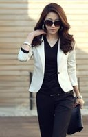 Wholesale New Fashion Lady Women Blazer Slim One Button Long Sleeve Leisure Coat Jacket Black Colors Dropshipping