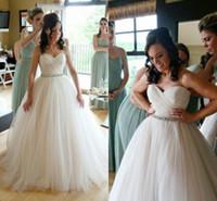 Wholesale Modest White Long Wedding Dress Sweetheart A Line Floor Length Tulle With Sash Beaded Bridal Dresses robe de mariage Custom Made