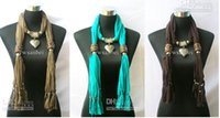 Wholesale 10pcs Jewelry necklace scarf heart Pendant Scarves wood ring woman cotton scarf