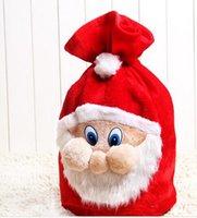 Wholesale Santa Claus Backpack - Xmas Backpack Cartoon Santa Claus Super Soft Sack Christmas Candy Bag drawstring 50*40cm Chrismas Gift BagH439