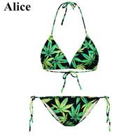 alice bikini - w1216 alice Halter Top New Hot Swim Bikinis Set Top Bottom Push Up Sexy Women Bikini Swimwear Beachwear Print Swimsuit