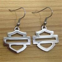alphabet styles - 3pairs biker style hot selling polishing earrings l stainless steel fashion jewelry cool men motor biker earrings