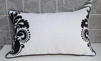 Wholesale Cotton Canvas Oblong pillow cover cushion cover White and Black Flower pillow cmx50cm