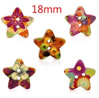 Cheap wholesale 100 Random Mixed Star Shape Wood Sewing Buttons Scrapbook 18x17mm Knopf Bouton(W01434 X 1)