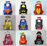 Wholesale DHL styles Double layers Superhero Capes mask set Ninja Turtles Star Wars patrol poke cape mask set for Kids CM