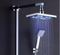 Wholesale Diameter quot inch cm RGB LED light Stainless Steel Rainfall Rain Bathroom Shower Head Water Saving Rainfall Bathroom