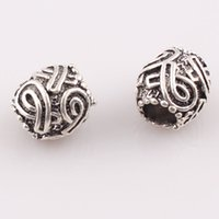 Wholesale Big Hole Metal Antique Silver Plated Beads European Charms for bracelet necklace DIY Loose Beads JJAL C27