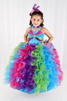 Cheap Multicolor Flower Girls' Dresses with Spaghetti Straps Glitz Pageant Dresses Brooch Junior Bridesmaid Dresses Ball Gowns for Little Girls