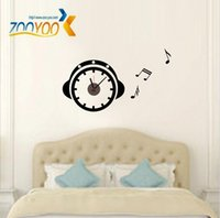 alarm clock headphones - DIY Removable Headphone alarm clock Artistic Wall stickers Hanging Clocks Mechanism Wall Clock Sticker for living room Decor