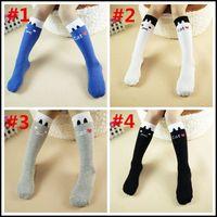 cartoon socks - 2015 girls cotton stockings Kids girl cartoon socks korean cat solid striped socks leggings loose socks J092104 DHL