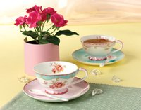 Wholesale Jsaron China Vintage Rose Porcelain Tea Cup Spoon and Saucer Set Coffee Mug