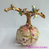 hand painted jewelry box - Vintage Hand Painted Love Birds Faberge Egg Rhinestone Jewelry Trinket Box for Decoration Gift Box