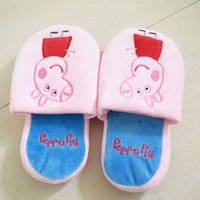Wholesale 2014NEW Peppa Pig Slippers Girls Size in Pink Mules Xmas Gift PP cotton Slipper