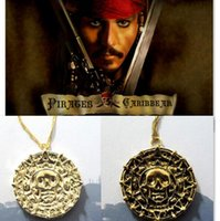 aztec sweater men - Vintage Pirates of the Caribbean Aztec Gold Coin Necklace Men Skull Sweater Pendant Jewelry Gold Silver Bronzer necklace with