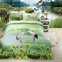 Wholesale 2015fashion D lake crane flower design polyester fiber Duvet Cover Set Bedding Sets Pillow case Bed sheet Duvet cover Full Queen