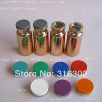 Wholesale x ml UV Gold Glass Vials cc Glass Bottle with flip off cap OZ cosmetic packaging essence bottle