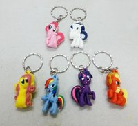 Wholesale New My Little Pony cartoon anime girls my little pony Keychain sided soft toys for kids