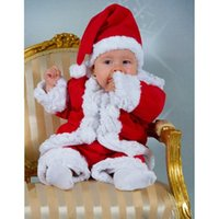 Cheap Brand New Fashion 5sets lot -3pcs baby clothing suits-2014 Boys Christmas style long-sleeved shirt + hat + Pants -Baby New Year Set