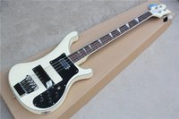 Wholesale The New Brand String Electric Bass with White Body and Black Pickguard and Can be Changed