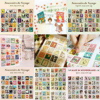 vintage sheet - piece Sheets Stickers DIY Scrapbooking Paper Vintage Stamps Stickers Retro Decoration Sticker