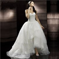 corset high low wedding gowns - 2016 Corset Back Wedding Dresses V Neck Sexy Lace Appliques Crystals Bridal Dress Backless High Low Women A Line Wedding Bridal Gown Fashion